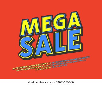 Vector bright modern logotype Mega Sale. Blue and Yellow comic Font. Extra colorful Alphabet Letters and Numbers