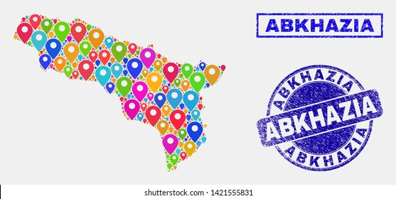 Vector bright mosaic Abkhazia map and grunge stamp seals. Flat Abkhazia map is designed from scattered bright site positions. Stamp seals are blue, with rectangle and rounded shapes.