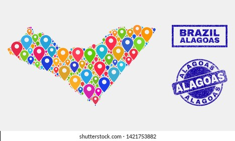 Vector bright mosaic Alagoas State map and grunge watermarks. Flat Alagoas State map is created from random bright site icons. Watermarks are blue, with rectangle and round shapes.
