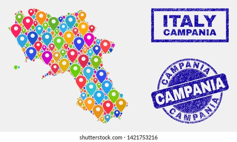 Vector bright mosaic Campania region map and grunge stamp seals. Flat Campania region map is created from scattered bright site pins. Stamp seals are blue, with rectangle and rounded shapes.