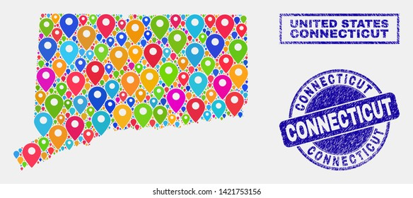 Vector bright mosaic Connecticut State map and grunge stamp seals. Abstract Connecticut State map is formed from randomized bright map symbols. Stamp seals are blue, with rectangle and round shapes.