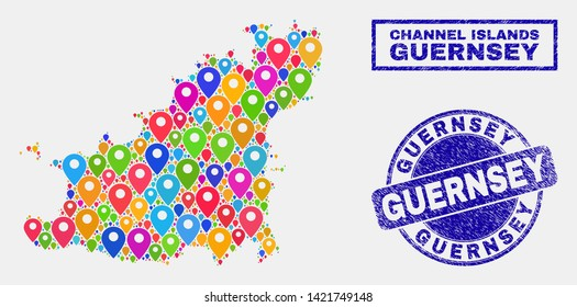 Vector bright mosaic Guernsey Island map and grunge watermarks. Flat Guernsey Island map is designed from scattered bright site pointers. Watermarks are blue, with rectangle and rounded shapes.