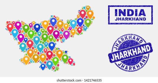 Vector bright mosaic Jharkhand State map and grunge stamp seals. Flat Jharkhand State map is designed from random bright navigation positions. Stamp seals are blue, with rectangle and rounded shapes.