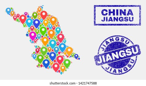 Vector bright mosaic Jiangsu Province map and grunge stamp seals. Abstract Jiangsu Province map is composed from randomized bright site positions. Stamp seals are blue,