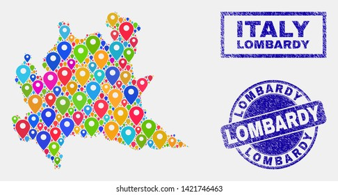 Vector bright mosaic Lombardy region map and grunge stamps. Flat Lombardy region map is created from scattered bright site pins. Stamps are blue, with rectangle and rounded shapes.