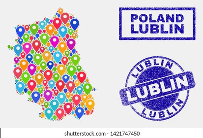 Vector bright mosaic Lublin Voivodeship map and grunge watermarks. Abstract Lublin Voivodeship map is created from randomized bright geo symbols. Stamp seals are blue, with rectangle and round shapes.