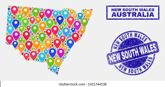 Vector bright mosaic New South Wales map and grunge stamp seals. Flat New South Wales map is composed from random bright geo icons. Stamp seals are blue, with rectangle and rounded shapes.