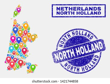 Vector bright mosaic North Holland map and grunge watermarks. Abstract North Holland map is created from randomized bright map locations. Stamp seals are blue, with rectangle and rounded shapes.