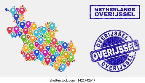 Vector bright mosaic Overijssel Province map and grunge stamp seals. Abstract Overijssel Province map is formed from scattered colorful geo markers. Stamp seals are blue,