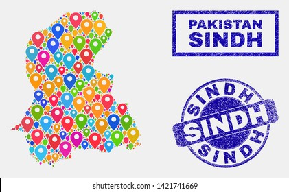 Vector bright mosaic Sindh Province map and grunge stamp seals. Abstract Sindh Province map is designed from randomized colorful site icons. Stamp seals are blue, with rectangle and round shapes.