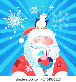 Vector bright New Year card with Santa Claus and a penguin on a blue background with snowflakes. Template for design postcard or poster.