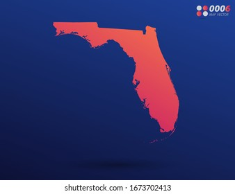 Vector bright orange gradient of Florida map on dark background. Organized in layers for easy editing.