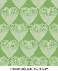 Vector bright ornate pattern with graphic lines, symmetric stripy background with romantic love hearts.