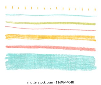 Vector bright pastel design elements on the chalkboard. Set of hand drawn colorful coal objects for design use. Vector art illustration grunge scratches, dust, stains, frames.