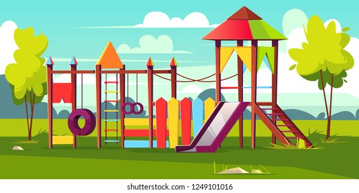 Vector bright playground for children at park. Game area with ropes, slide, housetop on green grass, color background. Cartoon construction for kids recreation. Colorful object for amusement.