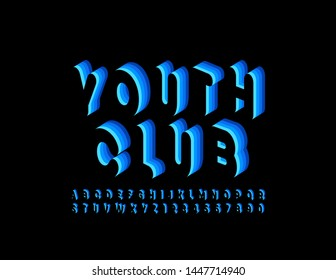 Vector bright poster Youth Club. Uppercase trendy  Font. Black and Blue 3D Alphabet Letters and Numbers