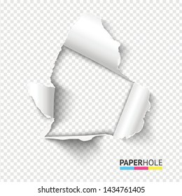 Vector bright rip edge poster concept with torn paper pieces isolated for scrapbooking or advert. Blank realistic tear paper hole on transparent background for sale banner.
