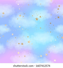 Vector bright seamless pattern with gold constellations, stars and clouds. Watercolor blue and lilac sky background