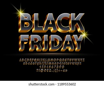 Vector Bright sign Black Friday. Chic alphabet letters, numbers, symbols. 3D Black and Golden Font.