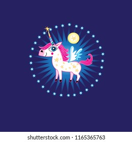 Vector bright sign of a fabulous unicorn on a dark blue background with stars