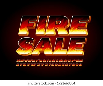 Vector bright sign Fire Sale with 3D burning Font. Flaming Alphabet Letters and Numbers