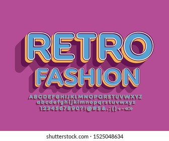Vector bright sign Retro Fashion with stylish 3D Font.Blue and Orange Alphabet Letters, Numbers and Symbols