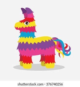 Vector bright striped colorful pinata isolated on white background