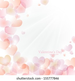 Vector bright sunny background of hearts. Valentine's Day