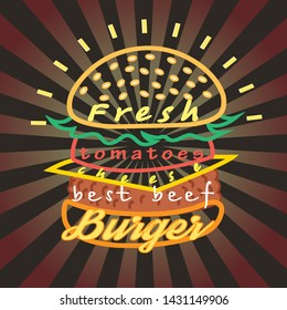 Vector bright tasty graphic outline drawing of a big burger with inscriptions on a dark background.