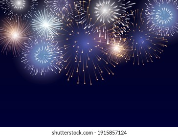 Vector Brightly Colorful Fireworks on the background of the night sky.