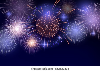 Vector Brightly Colorful Fireworks on night sky background.