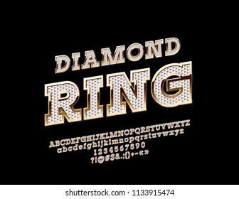 Vector brilliant and golden logo Diamond Ring. Rich royal Font. Luxury exclusive Alphabet Letters, Numbers and Symbols with Gem