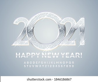 Vector brilliant and silver greeting card Happy New Year 2021! Modern glossy Font. White Alphabet Letters and Numbers set
