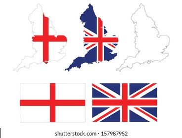 vector of british map with UK flag inside