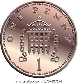 Vector british money bronze coin One penny, crowned portcullis with chains on reverse