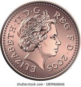 Vector british money bronze coin One penny, queen on obverse
