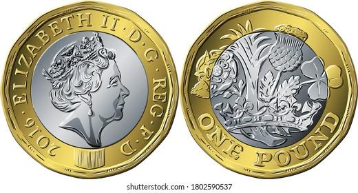 Vektor-britische Geldmünze ein Pfund neues 12-seitiges Design Rose, Bauch, Thistle und Shamrock umkreist von Coronet auf der Rückseite