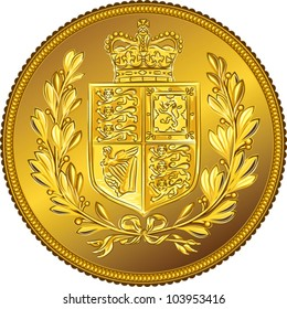 vector British money gold coin Sovereign with the image of a heraldic shield and crown, isolated on white background
