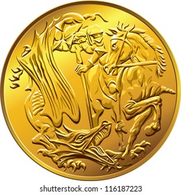 vector British money gold coin sovereign, with the image of St. George slaying the serpent, isolated on white background