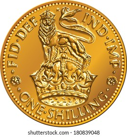 Vector British money gold coin one shilling with the image of a heraldic lion and crown, isolated on white background