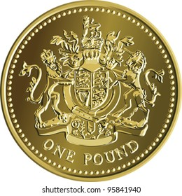 Vector British money gold coin one pound with the image of a heraldic lion, unicorn, shield and crown.