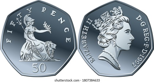 Vector British money silver coin fifty pee or pence, obverse and reverse with seated Britannia alongside lion, with olive branch and trident