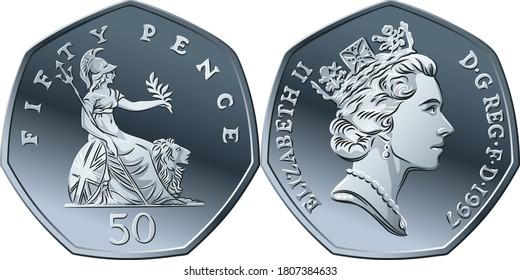 Vektor britisches Geld Silbermünze 50 Pence oder Pence, obverse und umgekehrt mit sitzenden Britannia neben Löwe, mit Olivenzweig und Trident