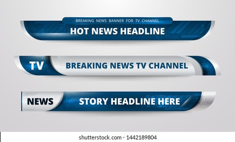 Vector of Broadcast News Lower Thirds Template for Television, Video and Media Channel