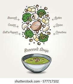 Vector Broccoli Soup Ingredients