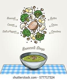 Vector Broccoli Soup on Table