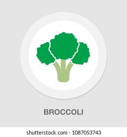 vector broccoli vegetable illustration, vegetarian nutrition symbol - fresh, healthy and organic