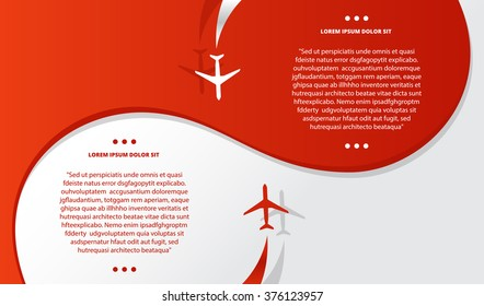 Vector brochure with airplanes and airplane stream jet, minimalistic style, card for travel agencies, aviation companies.