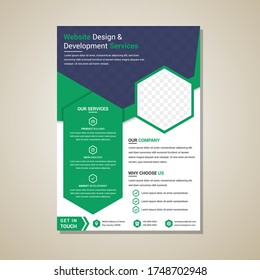 Vector brochure, annual report, flyer, magazine template. Modern blue and green geometric design. Vertical layout with white background. Hexagon shape space of photo collage.
