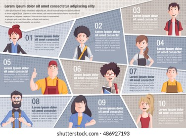 Vector brochure backgrounds with cartoon people. Infographic template design.